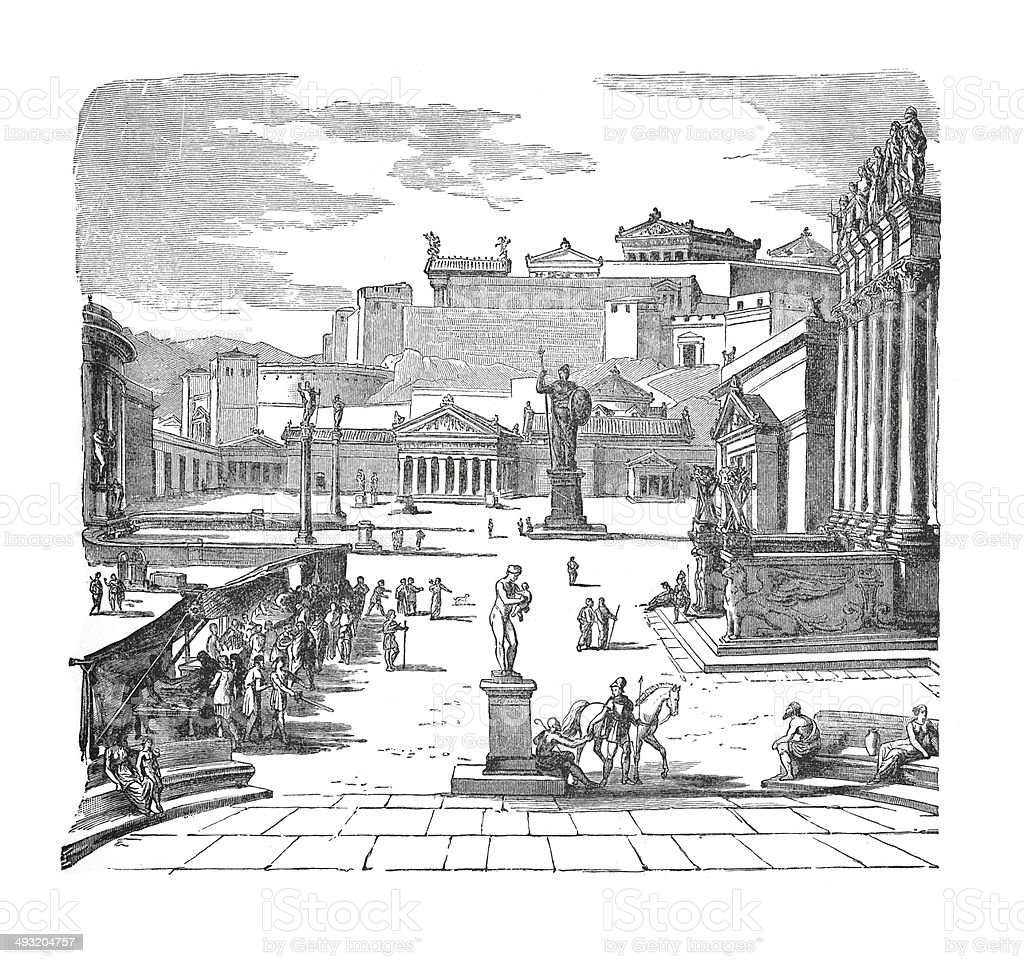 The market place of Sparta (antique engraving) vector art illustration