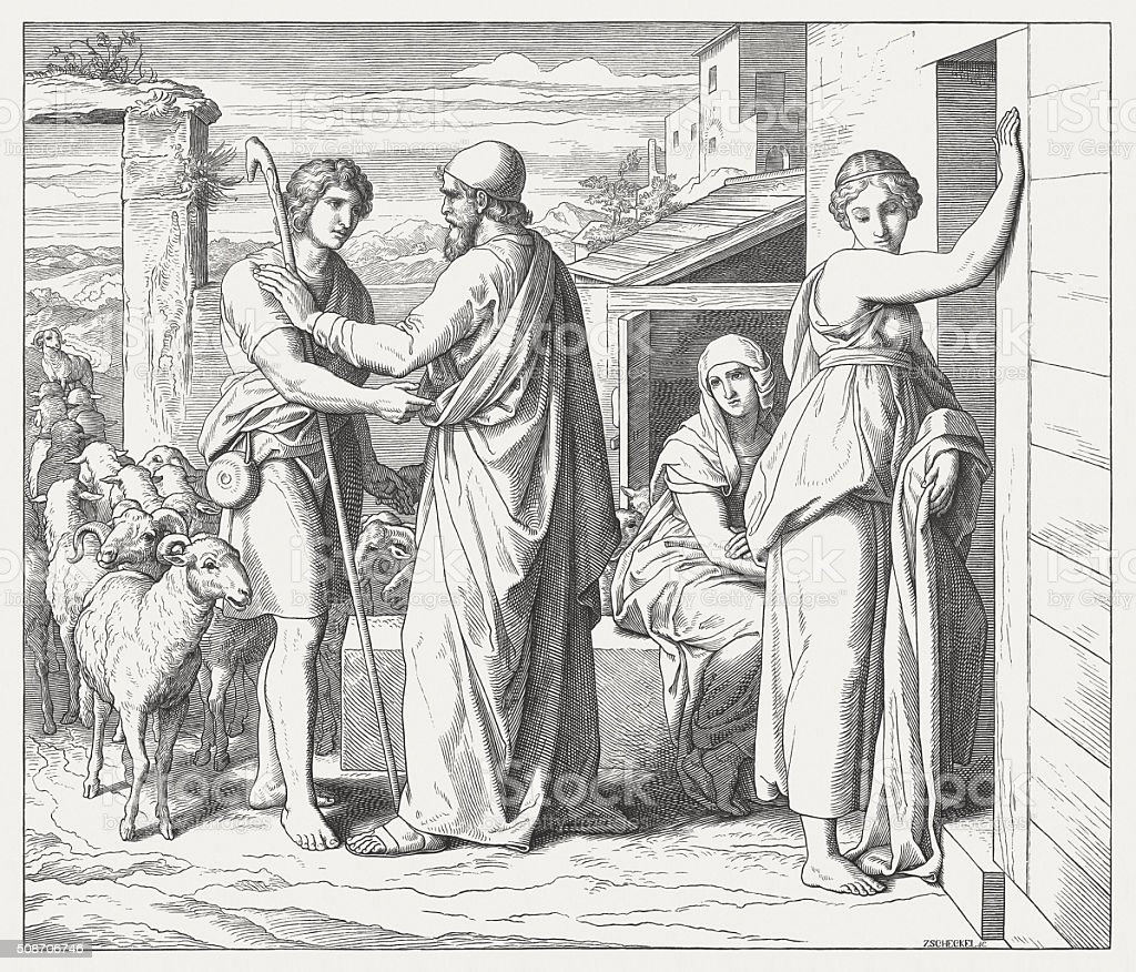 The Marriages of Jacob (Genesis 29), wood engraving, published 1860 vector art illustration