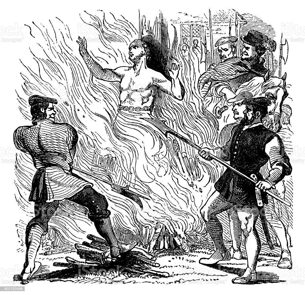 The martyrdom of Thomas Bilney of Norfolk vector art illustration