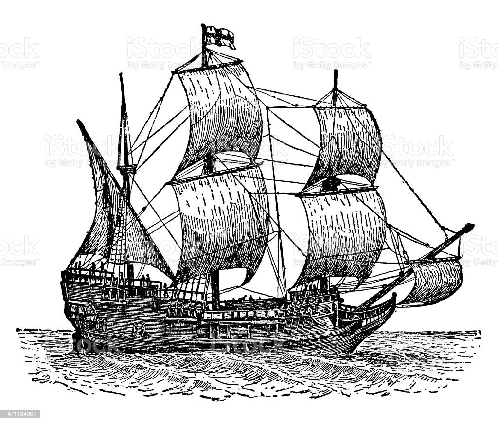 The Mayflower Ship vector art illustration