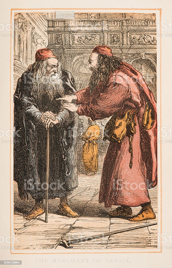 The Merchant of Venice by Shakespeare engraving 1870 stock photo