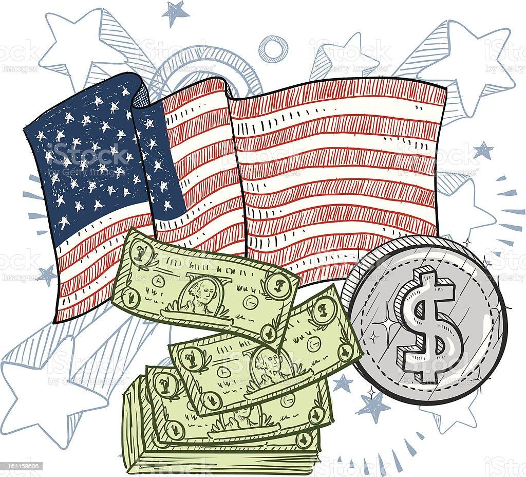 The might American dollar sketch vector art illustration