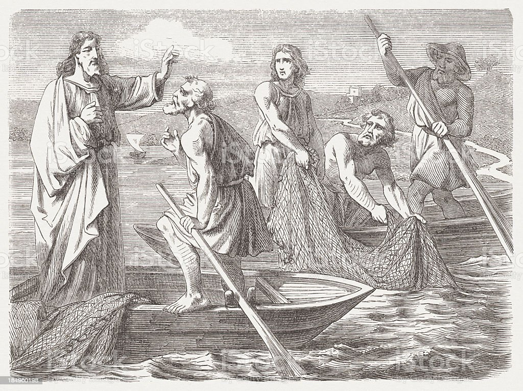 The Miraculous Draught of Fishes (Luke 5, 8-10), published 1877 vector art illustration