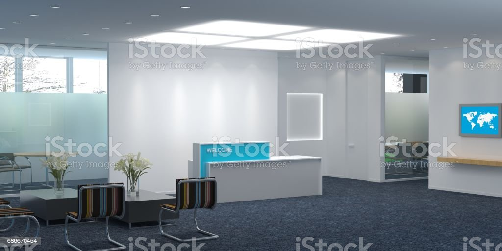 The modern office interior design 3d Illustration stock photo