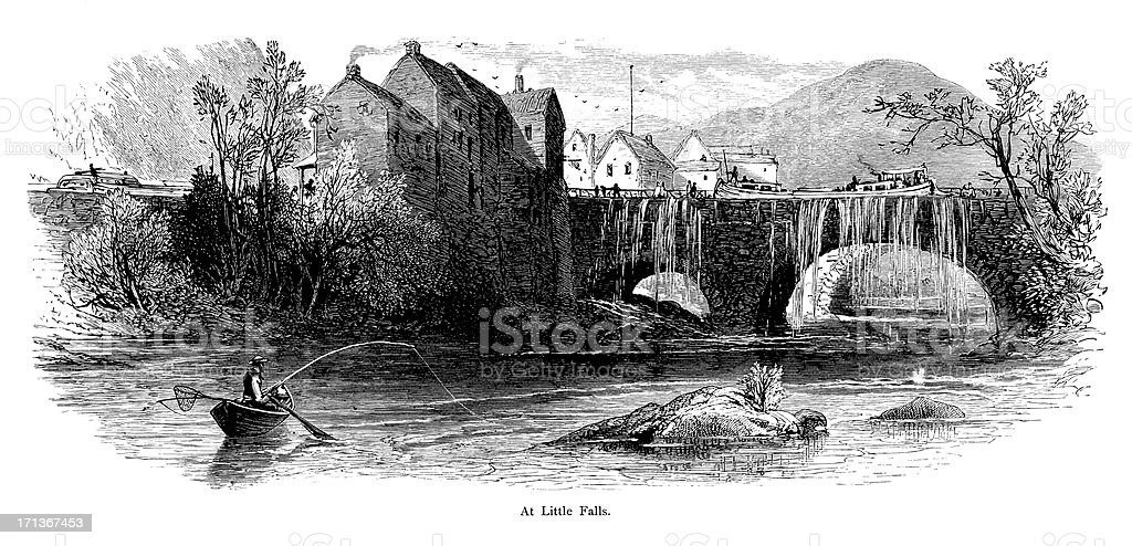 The Mohawk River at Little Falls, New York vector art illustration