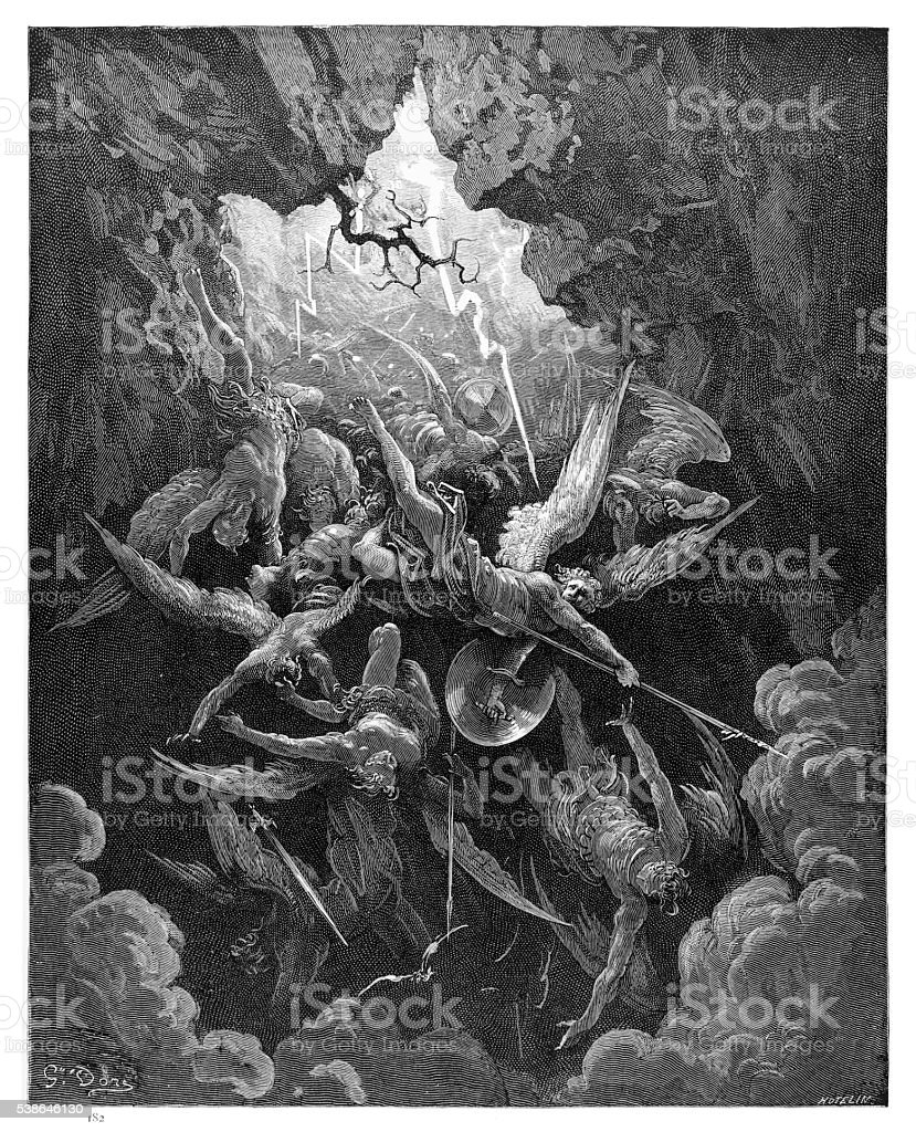 The Mouth of Hell of engraving vector art illustration
