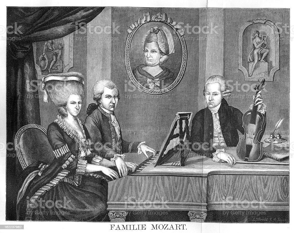 The Mozart Family - Antique Engraving vector art illustration