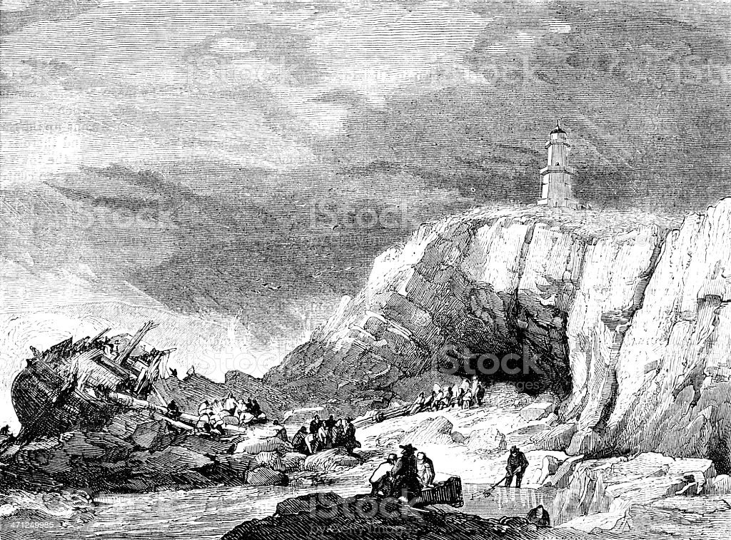 The Mumbles Lighthouse with shipwreck (Victorian illustration) vector art illustration