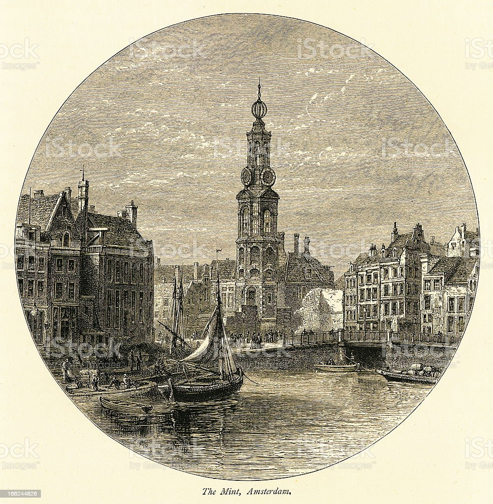 The Munttoren, Amsterdam, Netherlands (antique wood engraving) royalty-free stock vector art