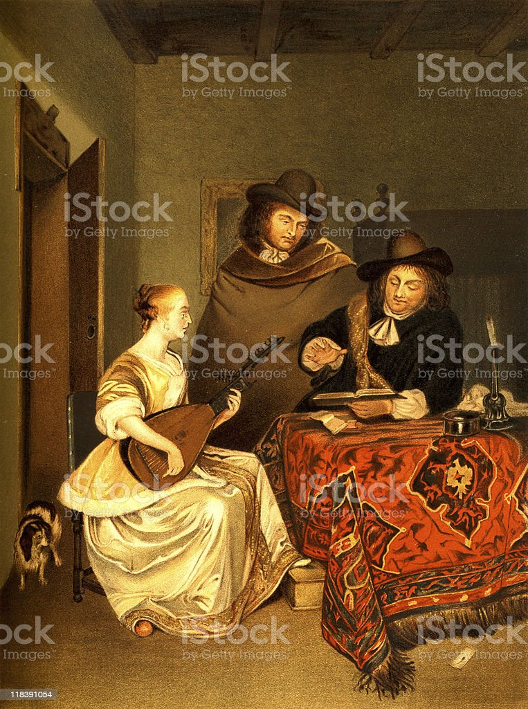 'The Music Lesson' by Gerard ter Borch royalty-free stock vector art