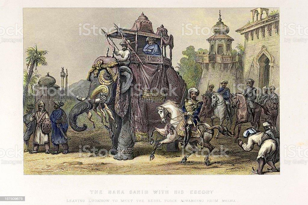 The Nana Sahib and Indian Elephant vector art illustration