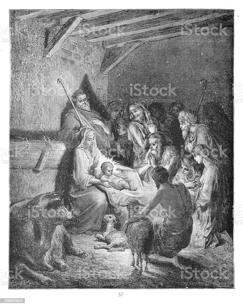 The nativity of Jesus 1883 vector art illustration