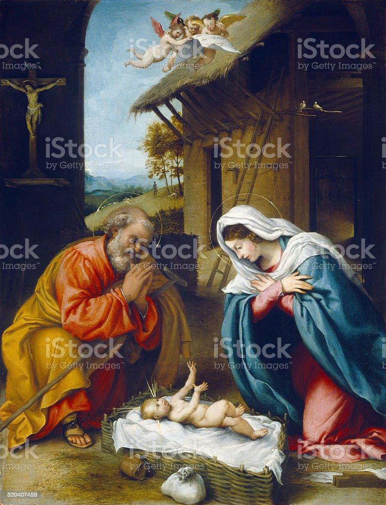 The Nativity of Jesus Christ vector art illustration