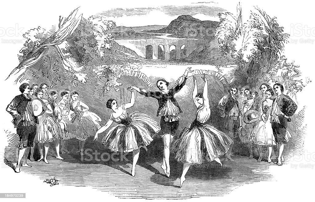 The New Ballet - Vauxhall Gardens, London (engraved illustration) vector art illustration