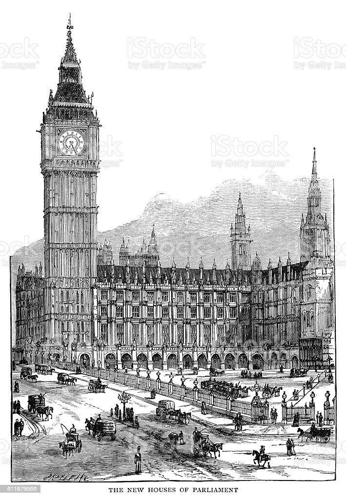 The new Houses of Parliament vector art illustration