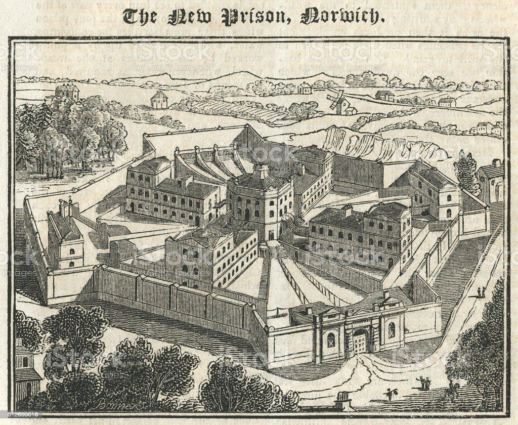 The New Prison, Norwich, 1827 vector art illustration