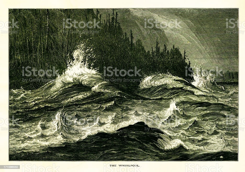 The Niagara Whirlpool, USA, wood engraving (1872) royalty-free stock vector art