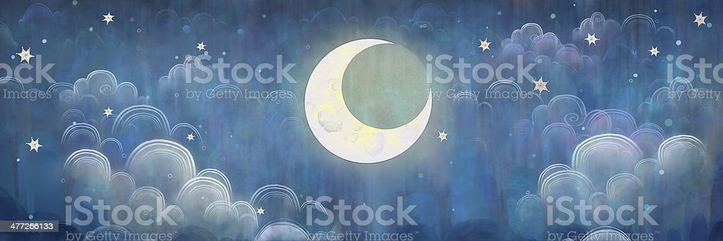 The night sky. Stars and Moon. vector art illustration