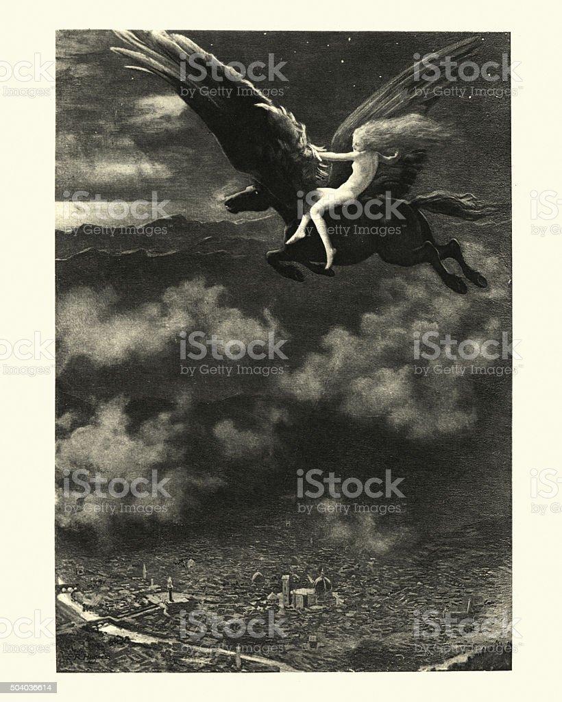 The Nights of Straparola - The Demon Horse vector art illustration