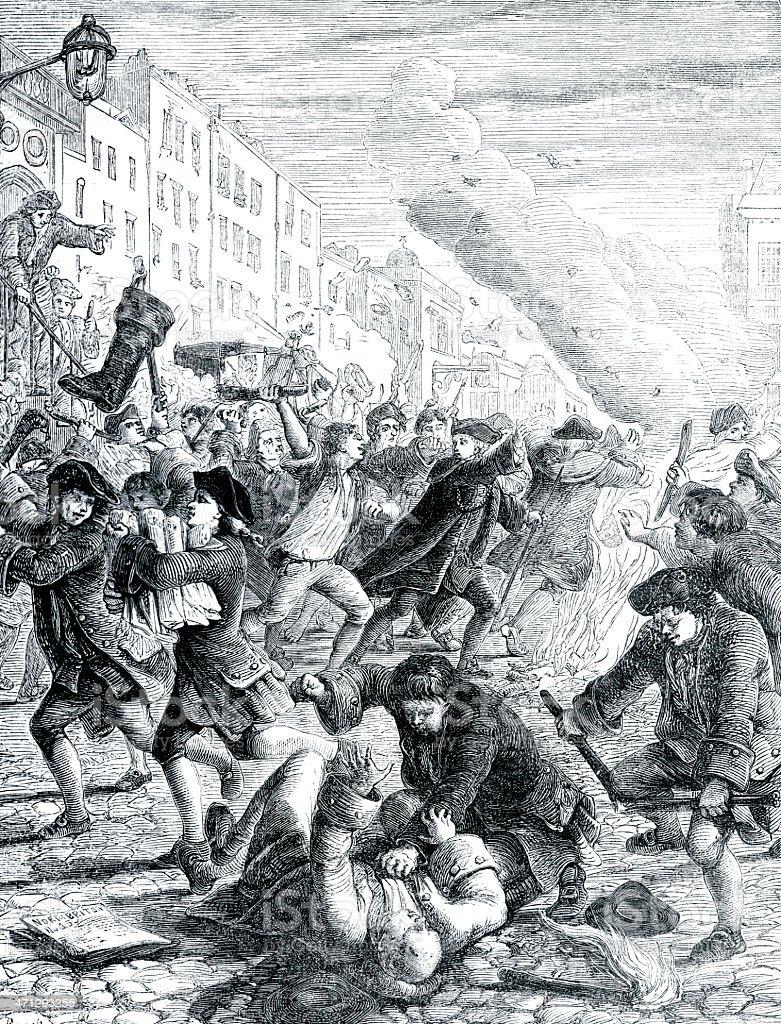 The North Briton Riot vector art illustration