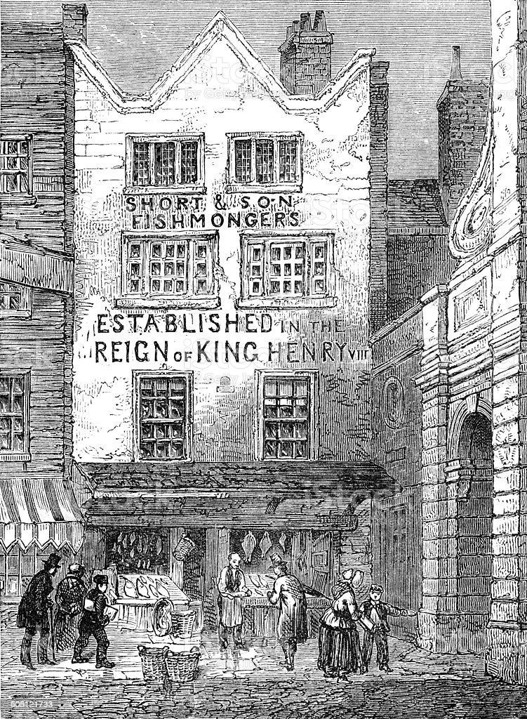 The old fish shop by Temple Bar, London, 1846 (illustration) vector art illustration