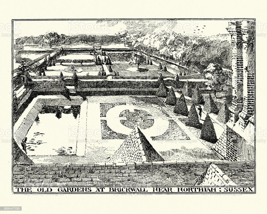 The Old Gardens at Brickwall Near Northiam Sussex vector art illustration