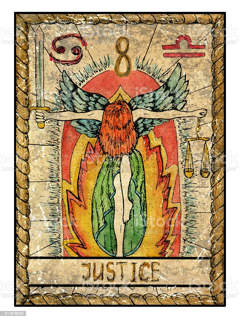 The Old Tarot card. Justice vector art illustration