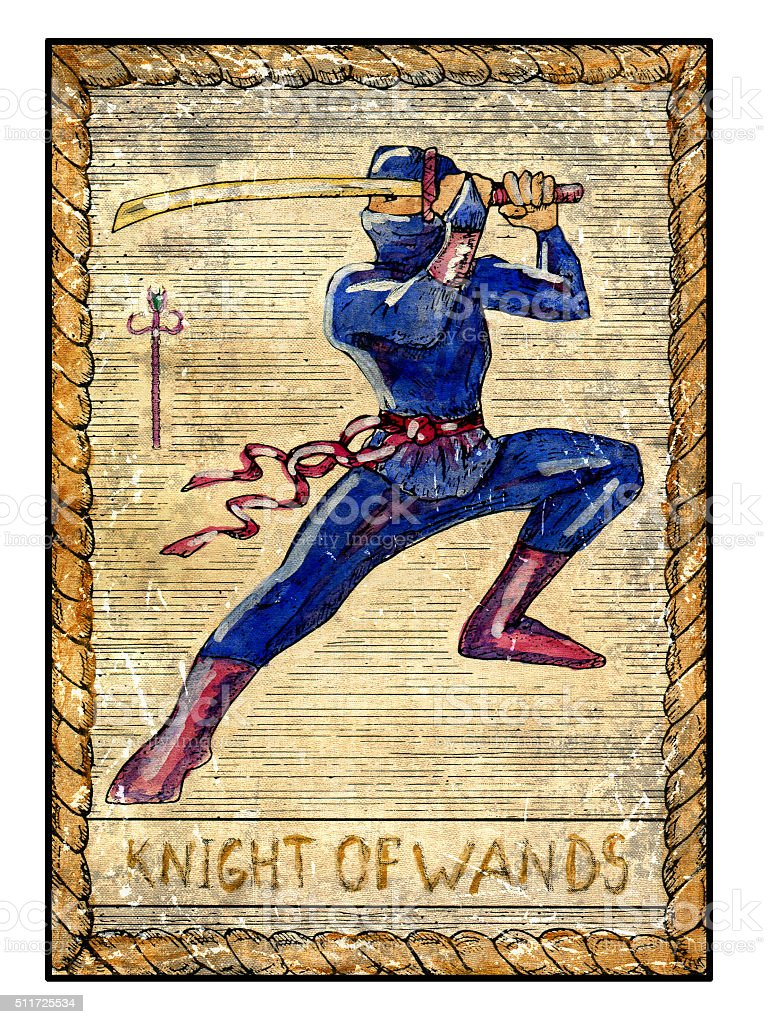The Old Tarot card. Knight of wands vector art illustration