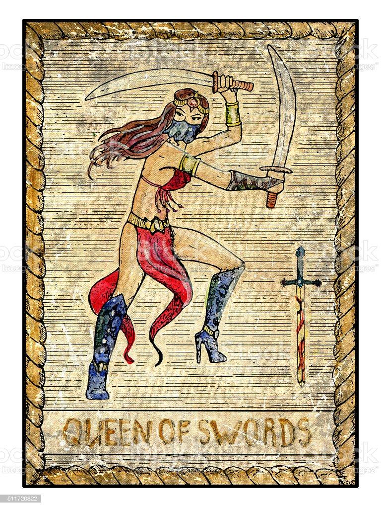 The Old Tarot card. Queen of Swords vector art illustration