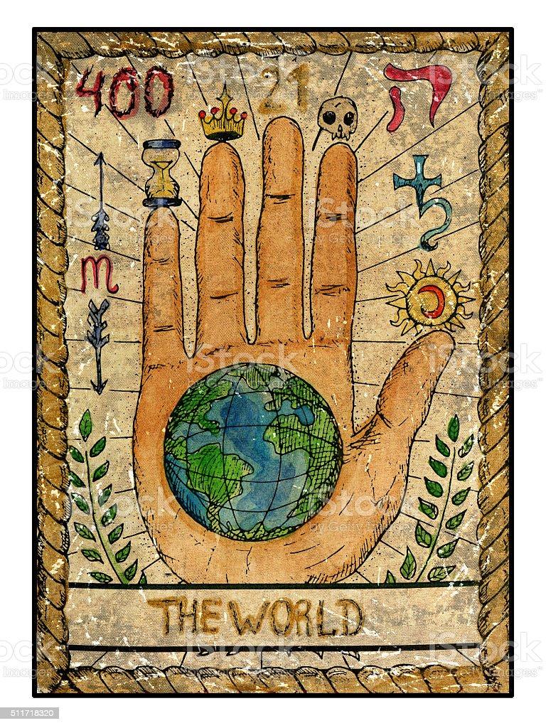 The Old Tarot card. The World vector art illustration