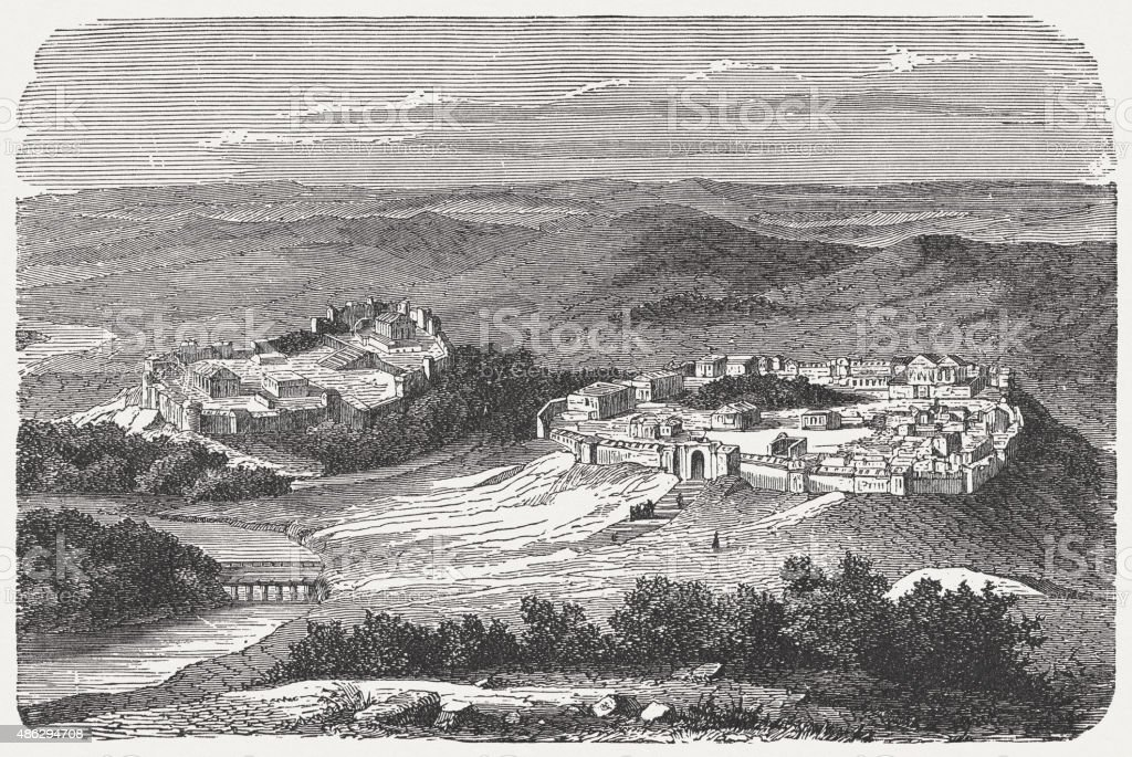 The oldest Rome, 8th century BC, published in 1878 vector art illustration