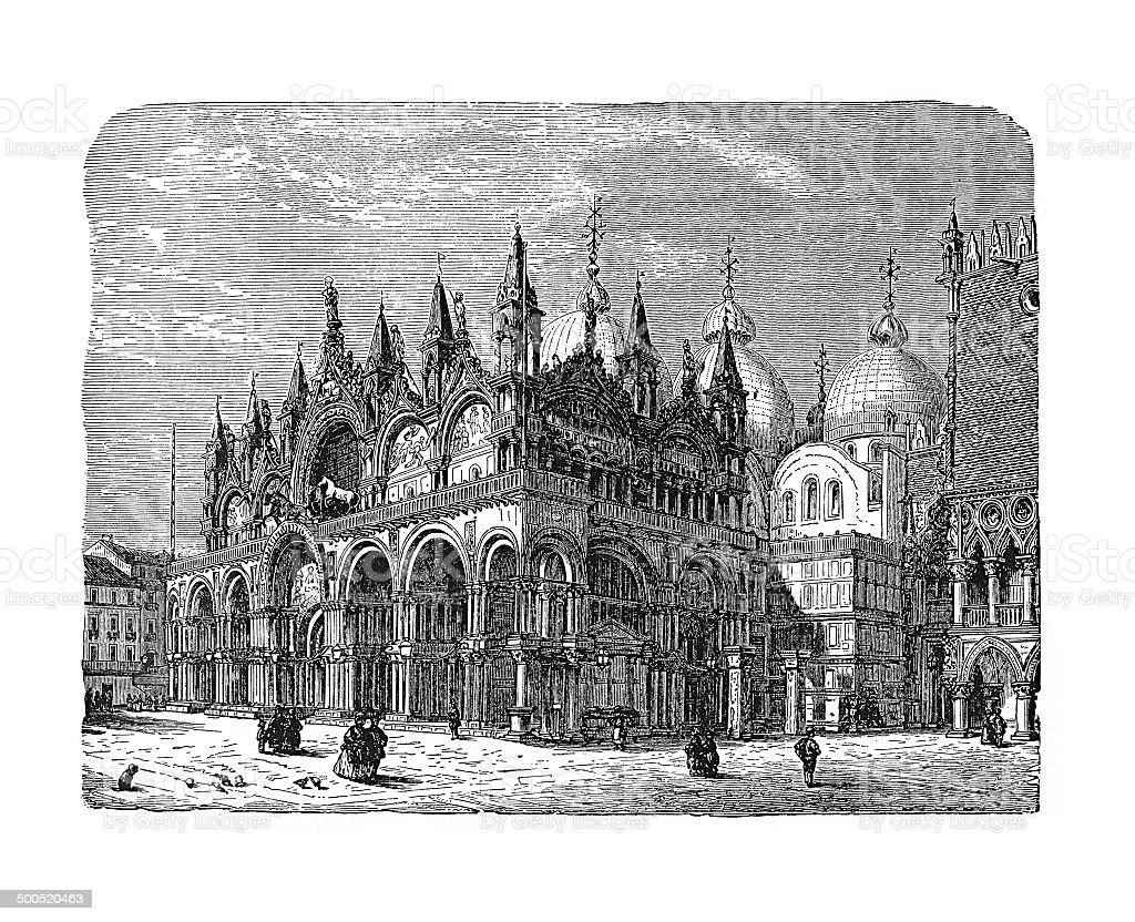 The palace of the doges in Venice (antique engraving) vector art illustration