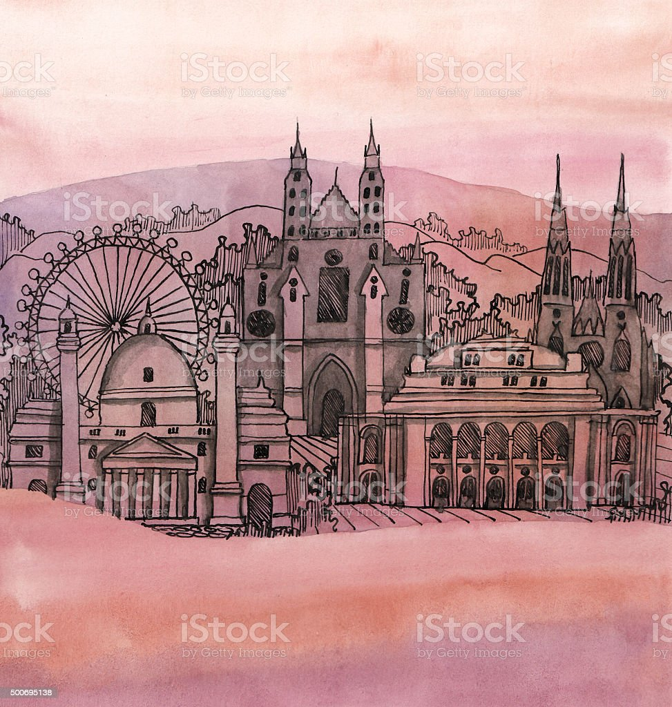 the panoramic view of vienna city hand drawn vector art illustration