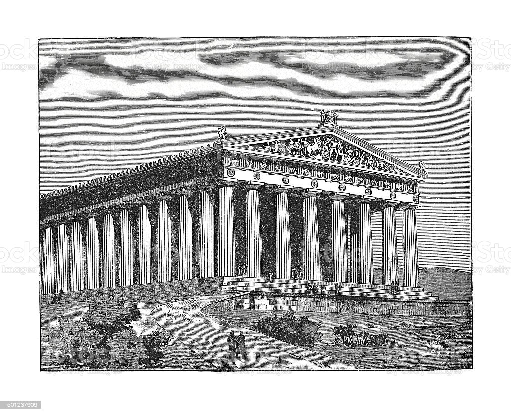 The Parthenon at time of Pericles (antique engraving) vector art illustration