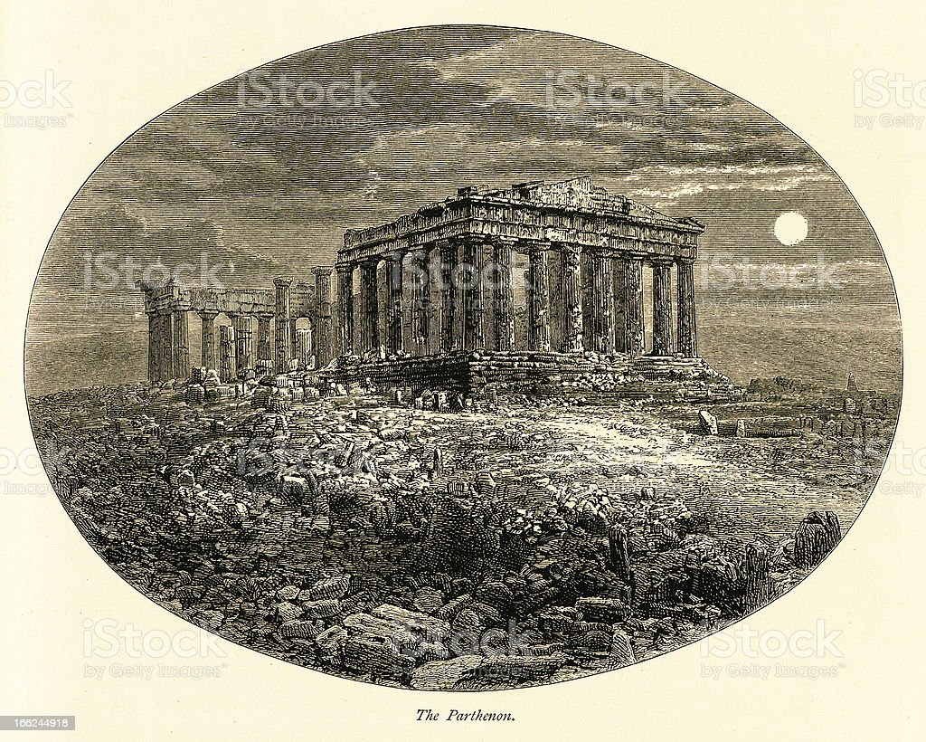 The Parthenon, Athens, Greece (antique wood engraving) royalty-free stock vector art