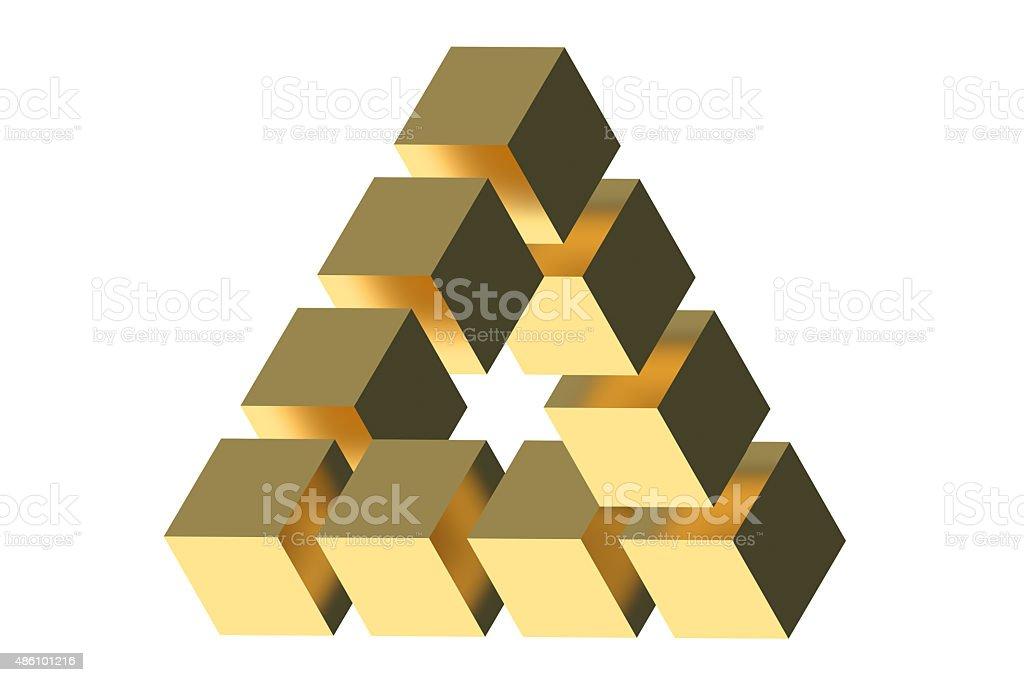 The Penrose triangle optical illusion vector art illustration