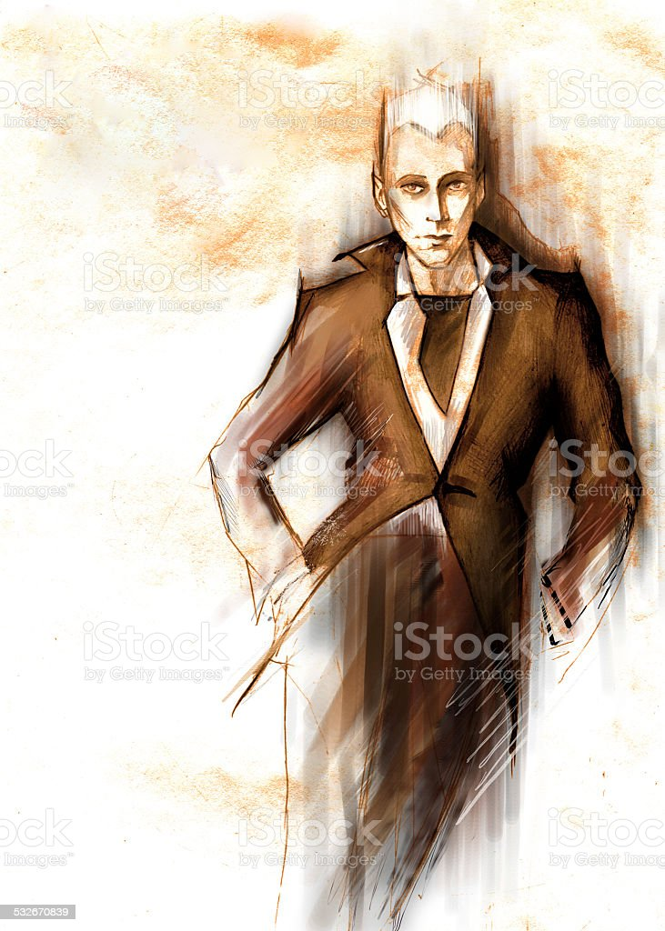The picture of stylish man in a suit vector art illustration