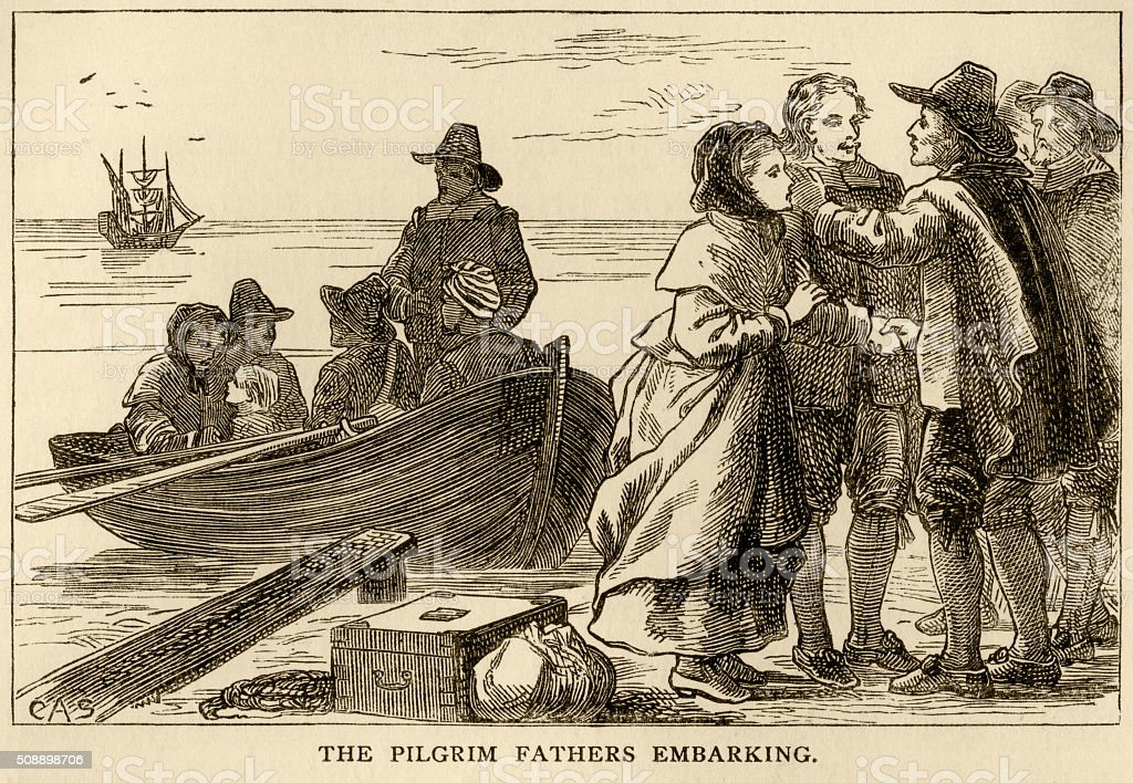 The Pilgrim Fathers embarking on their journey to America vector art illustration