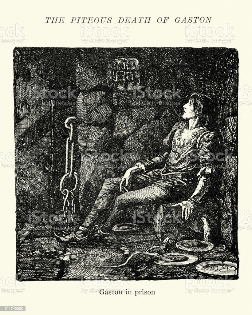 The Piteous death of Gaston vector art illustration