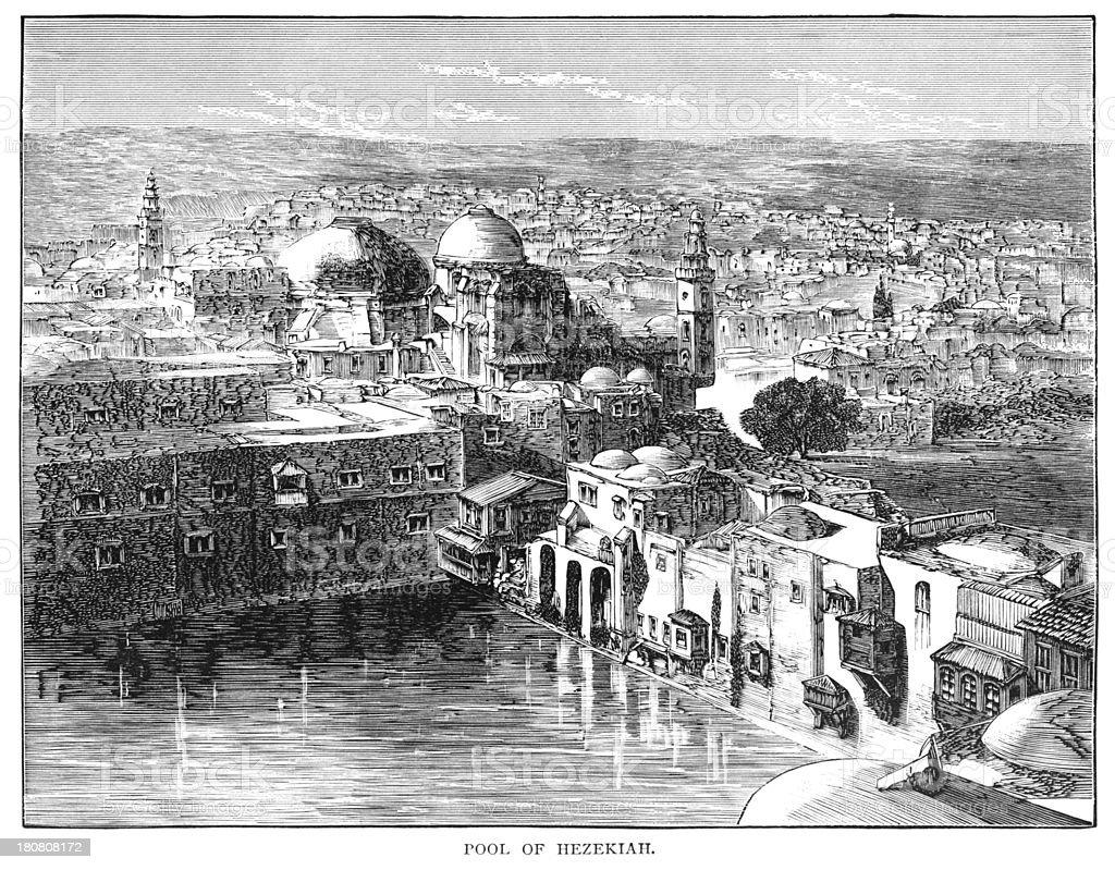The Pool of Hezekiah, Jerusalem vector art illustration