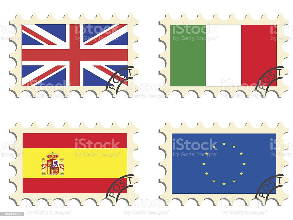 The post stamps royalty-free stock vector art