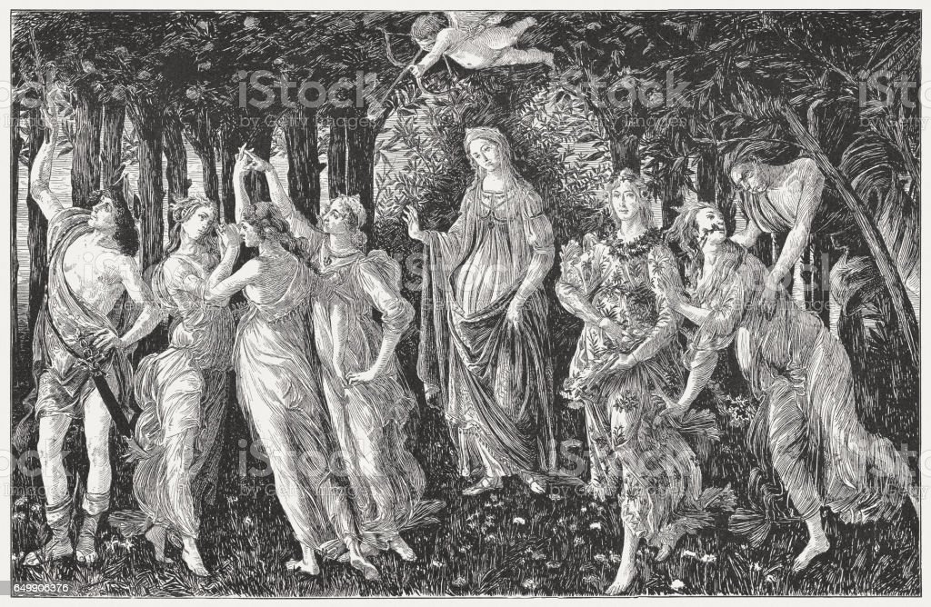 The Primavera, painted by Sandro Botticelli, wood engraving, published 1884 vector art illustration