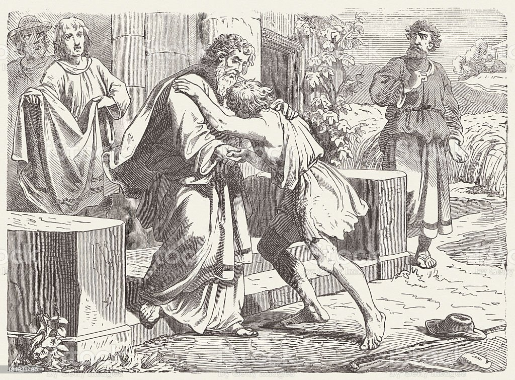 The Prodigal Son (Luke, 15, 20-21) wood engraving, publshed 1877 royalty-free stock vector art