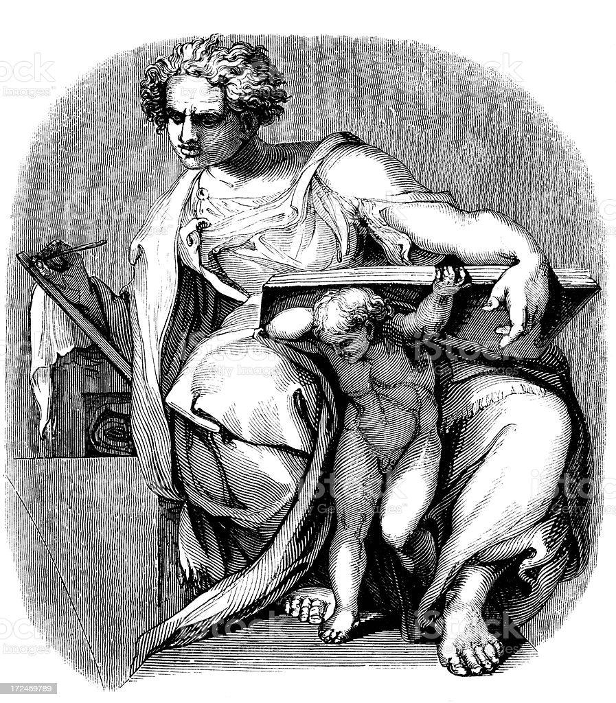 The prophet Daniel by michelangelo royalty-free stock vector art
