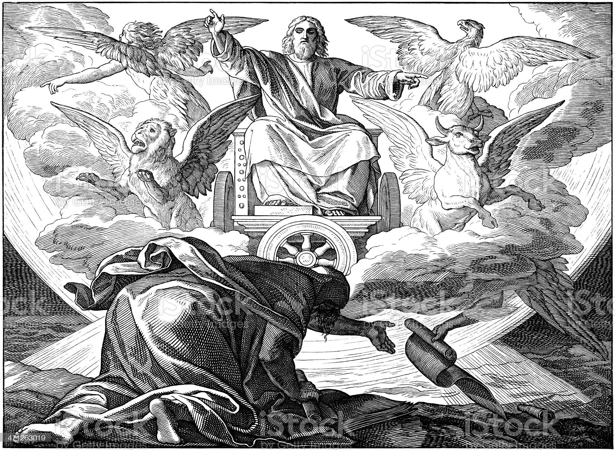 The Prophet Ezekial: Glory of God royalty-free stock vector art