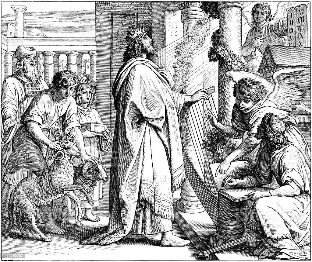 The Psalmist David Worship vector art illustration