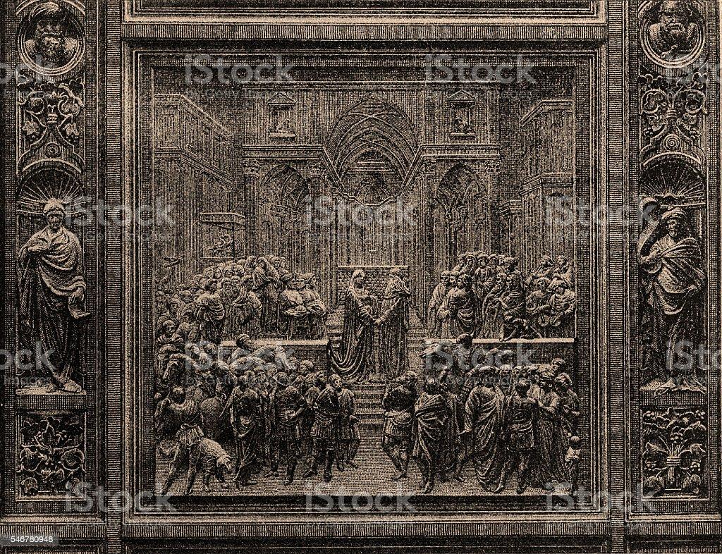 The Queen of Sheba visiting Solomon. vector art illustration