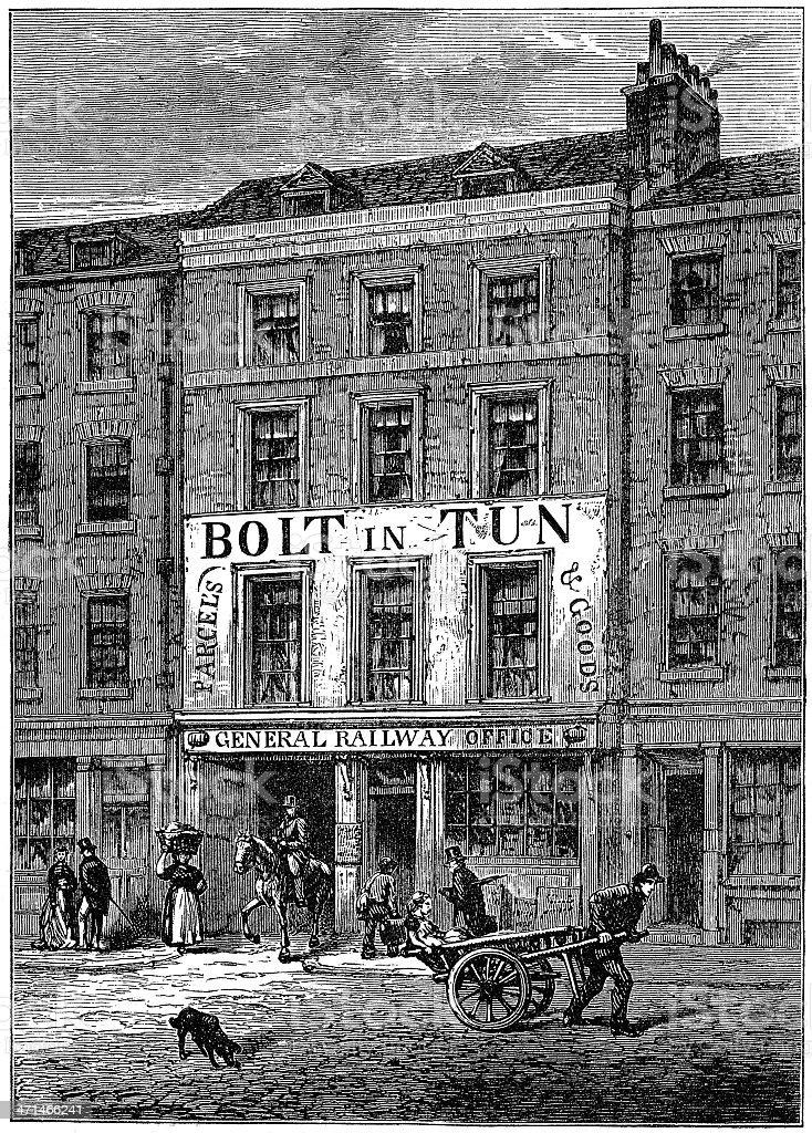 "The ""Bolt-in-Tun"" coaching inn, London in 1859 (illustration) royalty-free stock vector art"