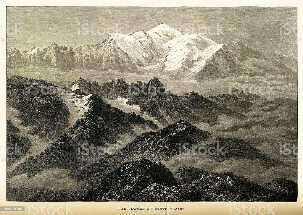 The range of Mont Blanc, High Alps (antique wood engraving) royalty-free stock vector art
