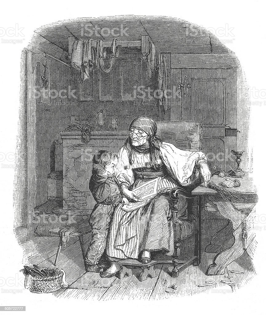 'The reading lesson', by Edouard Girardet (antique engraving) vector art illustration
